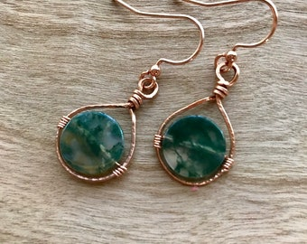 Moss Agate and Copper Dangle Earrings