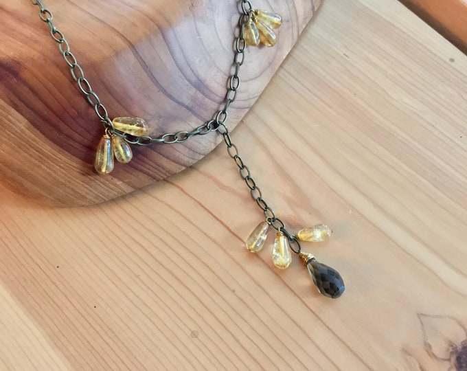 Citrine and Smokey Quartz Tear Drops and Bronze Plated Steel Lariat Necklace