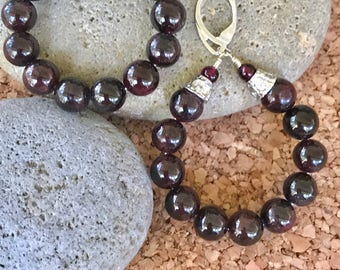 Deep Red Garnet Large Hoop Earrings