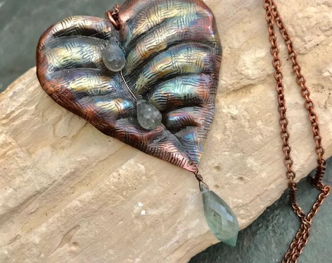 Copper Leaf with Moss Aquamarine and Labradorite