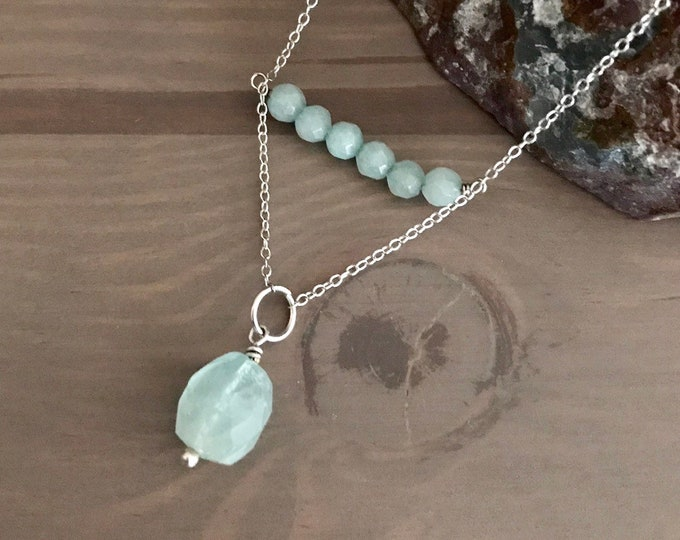 Aquamarine Bead and Silver Necklace