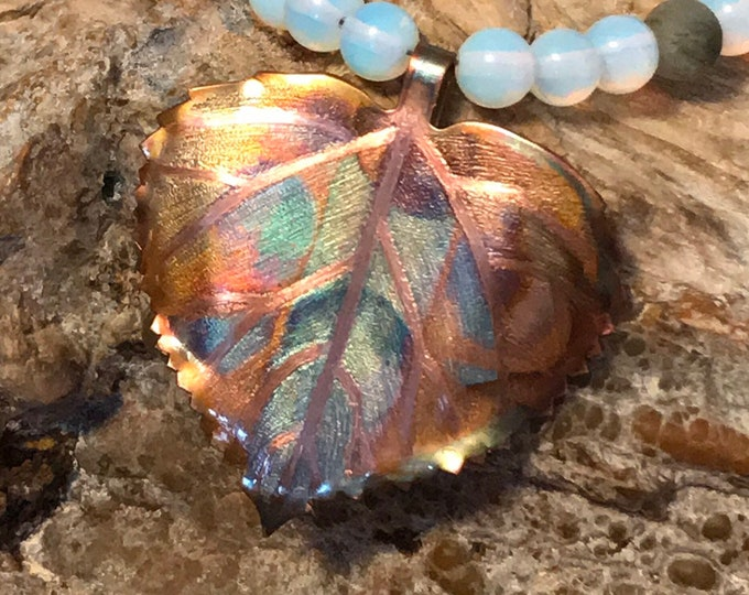 Copper Aspen Leaf Opal and Labradorite Beaded Necklace
