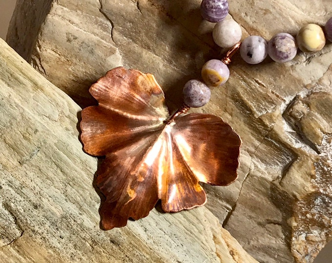 Copper Leaf and Purple Lace Agate Necklace