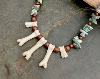 Bone Copper and Green Stone Chip Choker Necklace