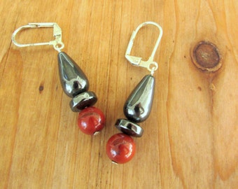 Hematite and Vintage Red Jasper Bead Earrings