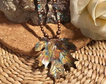 Copper Maple Leaf Pendant Necklace