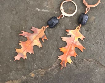 Raw Copper and Sodalite White Oak Leaf Earrings