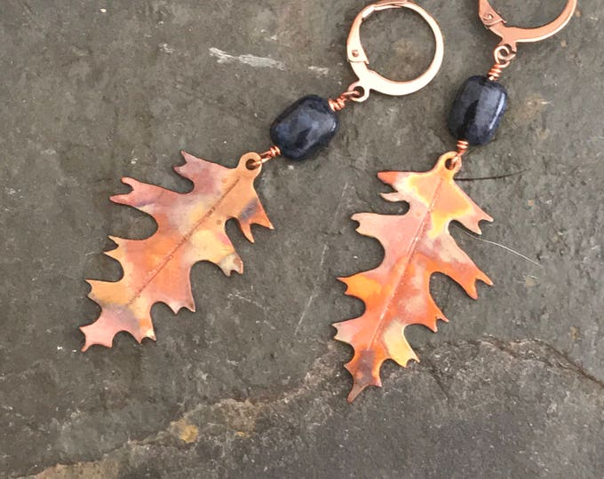 Copper and Dumortierite White Oak Leaf Earrings