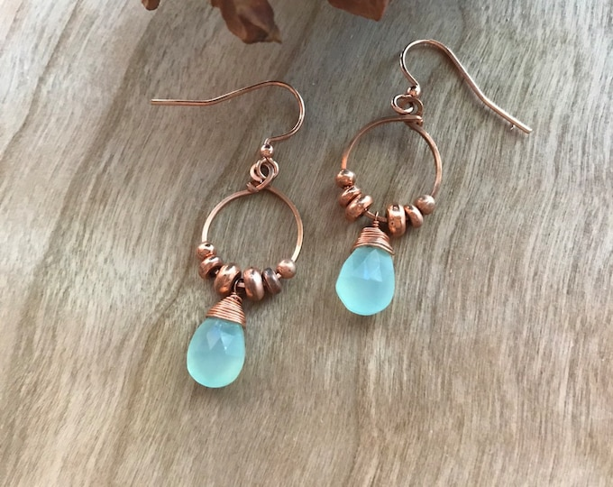 Prehnite and Copper Dangle Earrings