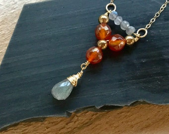 Labradorite and Carnelian Gold Pendant Necklace
