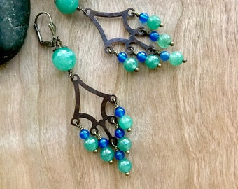 Aventurine and Blue Agate Chandelier Earrings
