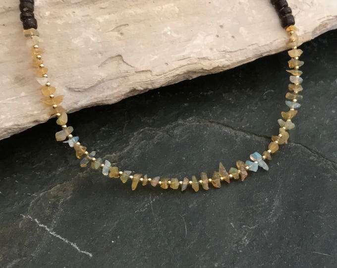 White Opal Chip and Wood Bead Choker Necklace