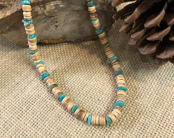 Turquoise and Wood Bead Choker Necklace