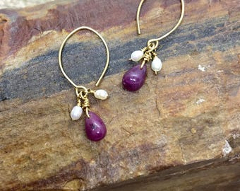 Delicate Ruby and Pearl Gold Dangle Earrings