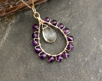 Amethyst in Green and Purple Wire Wrapped Pendant Necklace