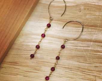 Red-Purple Garnet Gold Filled Dangle Earrings