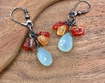 Prehnite Carnelian and Oxidized Sterling Siver Dangle Earrings