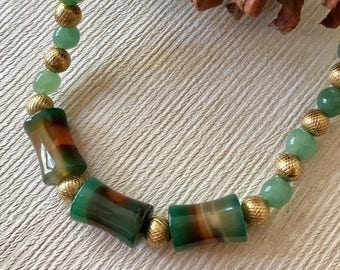 Green Agate and Polished Brass Beaded Necklace