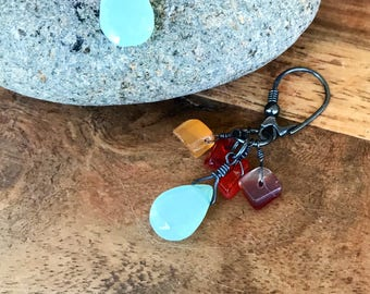 Prehnite Carnelian and Oxidized Sterling Siver Dangle Earrings
