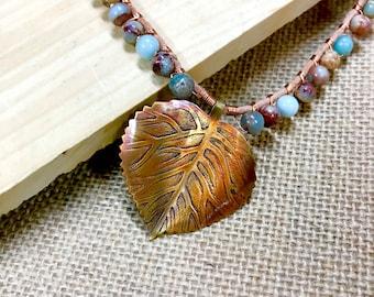 Copper Aspen Leaf Blue Jasper Bead Necklace