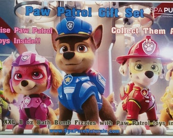 6 XL Bath Bomb Fizzies with surprise Paw Patrol figure inside, handmade, natural ingredients, fruity, kid-friendly scents