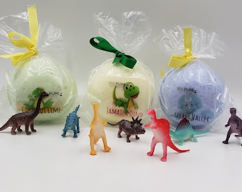12 XL Bath Bomb Fizzies with surprise Dinosaur toy inside, handmade, natural ingredients, fruity, kid-friendly scents