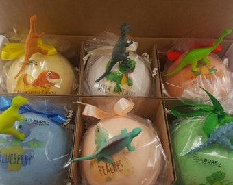 DINOSAUR Bath Bomb Gift Set with 6 XXL 8-10 oz bath bombs with dinosaur in the bomb, moisturizing, great fun for the tub