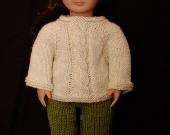 """Cabled Sweater and Pants Knitting Pattern for 18"""" Dolls and Waldorf Dolls"""
