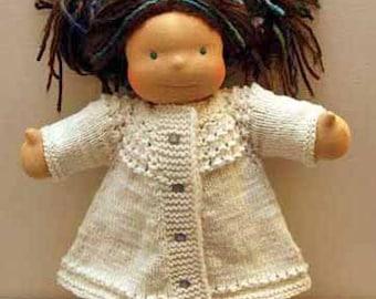 "Doll Swing Coat Knitting Pattern for 15"" Dolls"