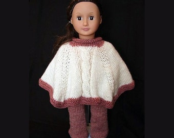 Cabled Poncho and Pants Set (knitting pattern) for 18 inch Doll