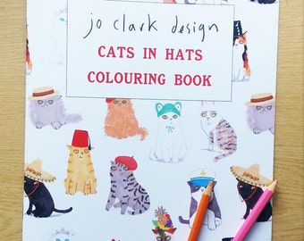 White Coloring Book Cats In Hats Activity Book