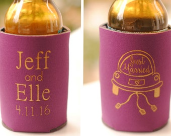 Just Married Wedding Can Coolers - Personalized Wedding Favors for Guests, Rustic Wedding Favors, Fall Wedding Ideas