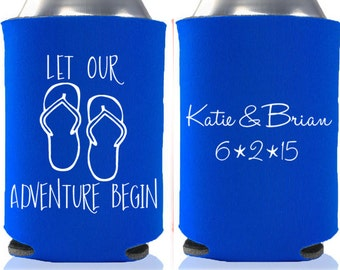 Beach Wedding Favors - Let Our Adventure Begin Personalized Wedding Can Coolers, Reception Favors for Guests, Beer Insulators, Stubby Holder