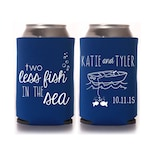 Beach Wedding Favors - Personalized 2 Two Less Fish in the Sea Can Coolers, DIY Favors for Guests, Destination Wedding Ideas, Summer Wedding