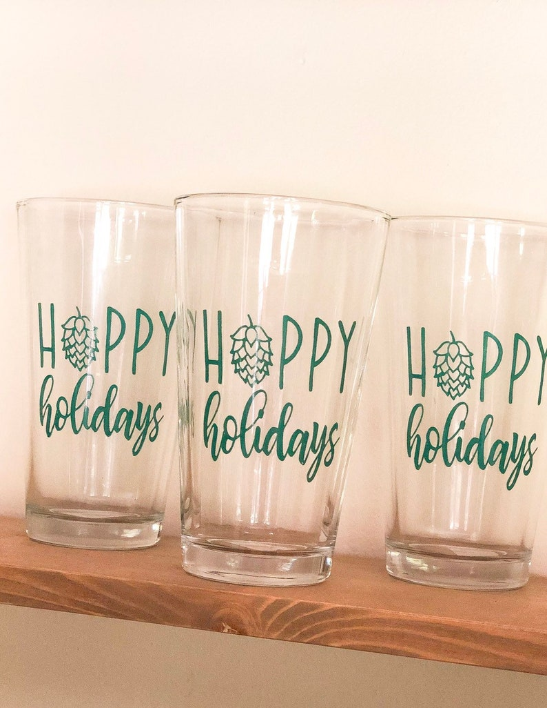 Hoppy Holidays 16 oz Pint Glass Holiday Gifts Christmas image 0