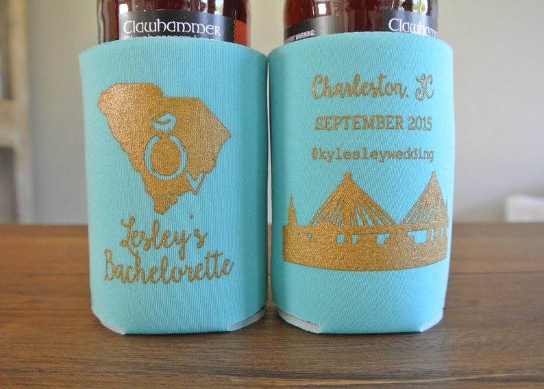 can insulator Bachelorette Party Can Coolers beverage insulators stubby holders Charleston Bachelorette Party Favors