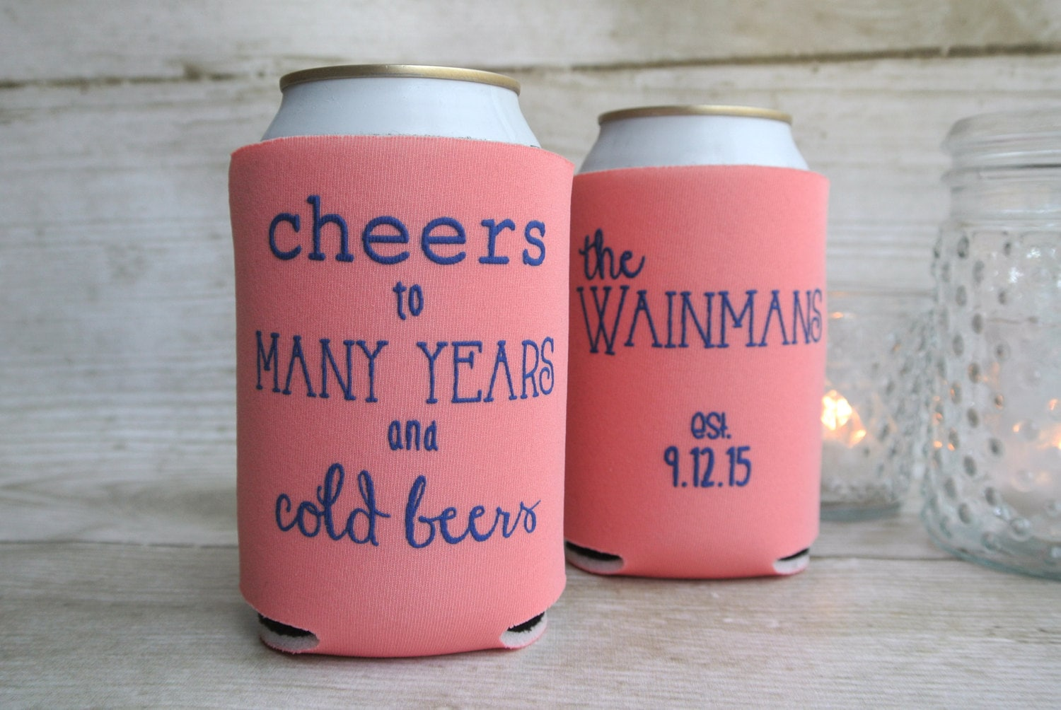 Fall Wedding Favors Cheers to Many Years and Cold Beers