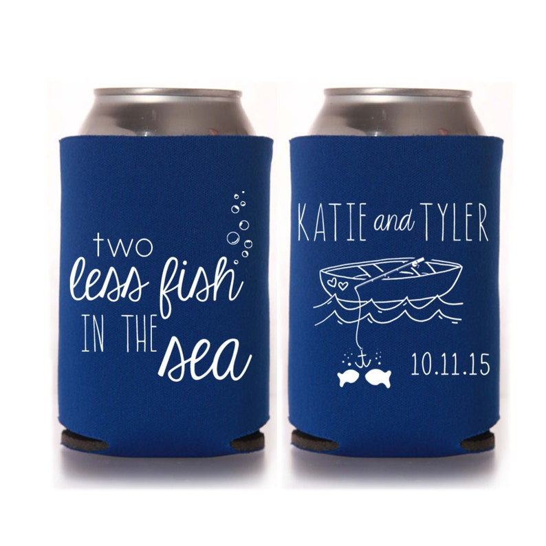 Beach Wedding Favors  Personalized 2 Two Less Fish in the Sea image 0