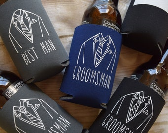 Groomsmen Wedding Favors, Can Cooler Gifts, Groomsman Gifts, Beverage Insulators, Wedding Party Gifts