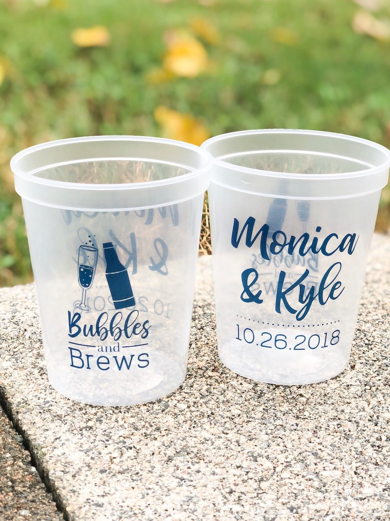 Bubbles and Brews Engagement Party Cups  Personalized Cups image 0