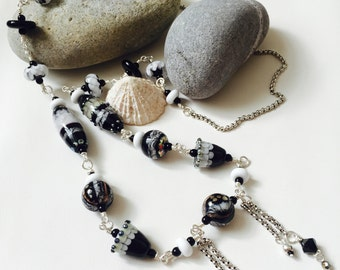 Snow Maiden - Handmade Lampwork Glass Bead Necklace