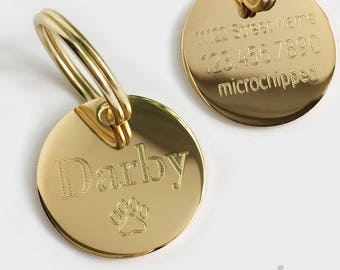 Personalized Pet Tag Round Gold or Silver 1 or 1.25 inch charm for Dog Pet ID Collar Keychain Necklace Custom Engraved w Name Symbol Med-Lg