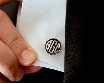 SALE! Gatsby 1920s Art Deco Monogram Cuff links - Custom Personalized Cufflinks Pair with 2 or 3 Vintage Initials for Men