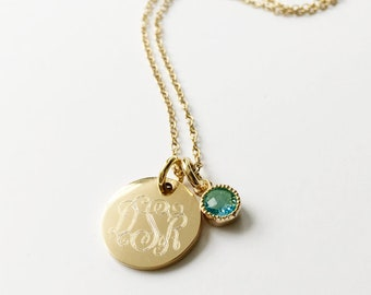 Personalized Gold Monogram Birthstone Necklace Initials Engraved on Gold Filled Pendant Gift for Bridesmaid Mother Mommy or Everyday