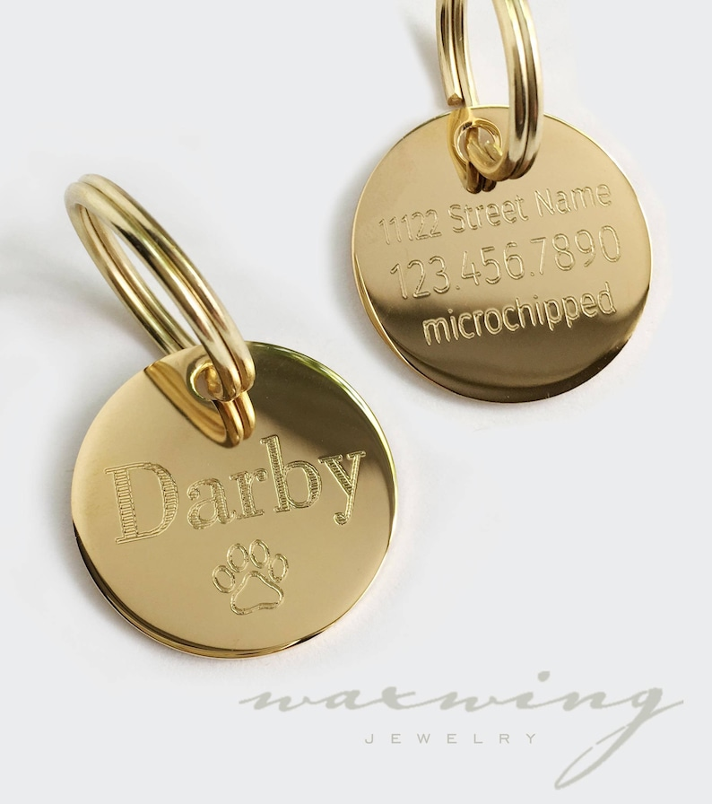 7e2af30ea77 Gold Dog Tag Round Personalized Gold or Silver Plated 1 1.25 image ...