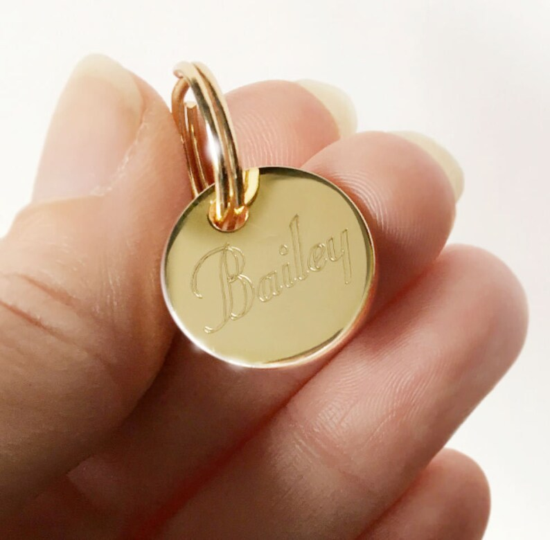 8ae250b362f Gold Pet Tag Round Personalized Custom Engraved Gold or Silver image 0 ...