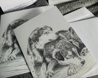 Blank notecards 5 pack dogsledding mushing husky winter love