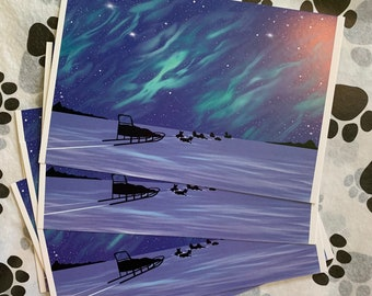 Dogsledding mushing winter postcards digital