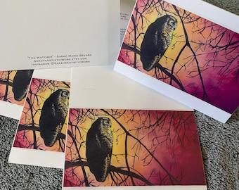 Blank notecards 5 pack dogsledding mushing husky watercolor night