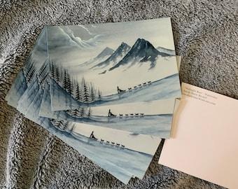 Monochrome Dogsledding mushing winter postcards